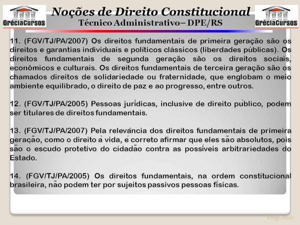 Noções de Direito Constitucional Técnico Administrativo– DPE/RS Prof. Jair 11. (FGV/TJ/PA/2007) Os direitos fundamentais de primeira geração são os di