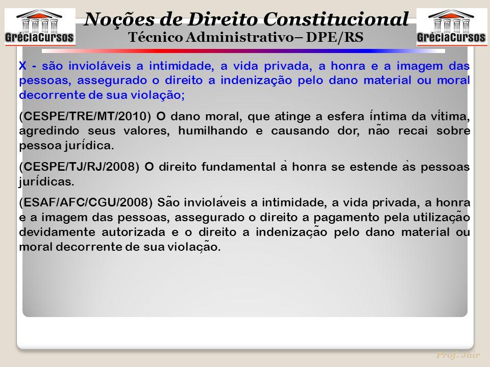 Noções de Direito Constitucional Técnico Administrativo– DPE/RS Prof. Jair X - são invioláveis a intimidade, a vida privada, a honra e a imagem das pe