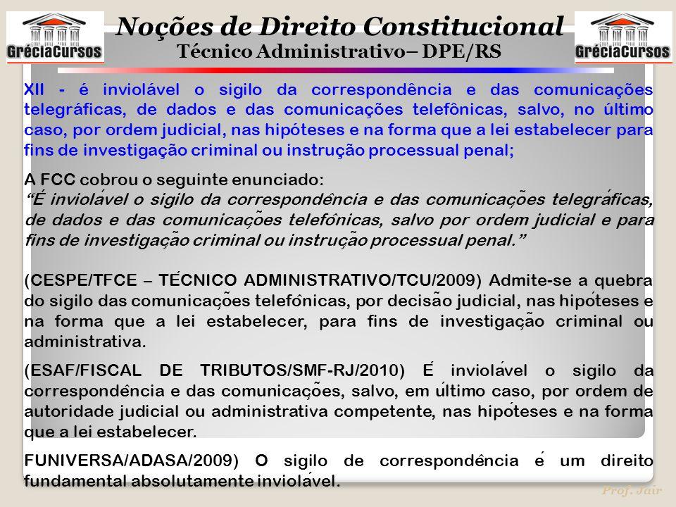 Noções de Direito Constitucional Técnico Administrativo– DPE/RS Prof. Jair XII - é inviolável o sigilo da correspondência e das comunicações telegráfi