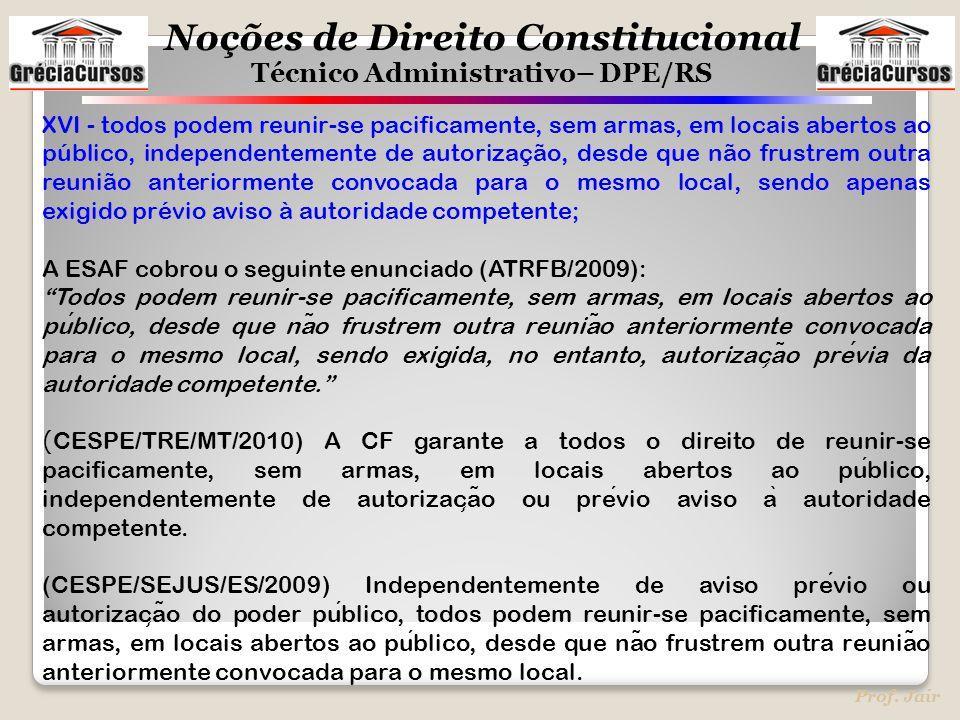 Noções de Direito Constitucional Técnico Administrativo– DPE/RS Prof. Jair XVI - todos podem reunir-se pacificamente, sem armas, em locais abertos ao