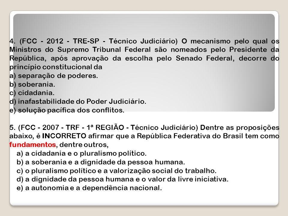 4. (FCC - 2012 - TRE-SP - Técnico Judiciário) O mecanismo pelo qual os Ministros do Supremo Tribunal Federal são nomeados pelo Presidente da República