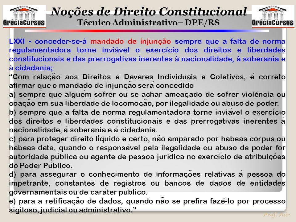Noções de Direito Constitucional Técnico Administrativo– DPE/RS Prof. Jair LXXI - conceder-se-á mandado de injunção sempre que a falta de norma regula