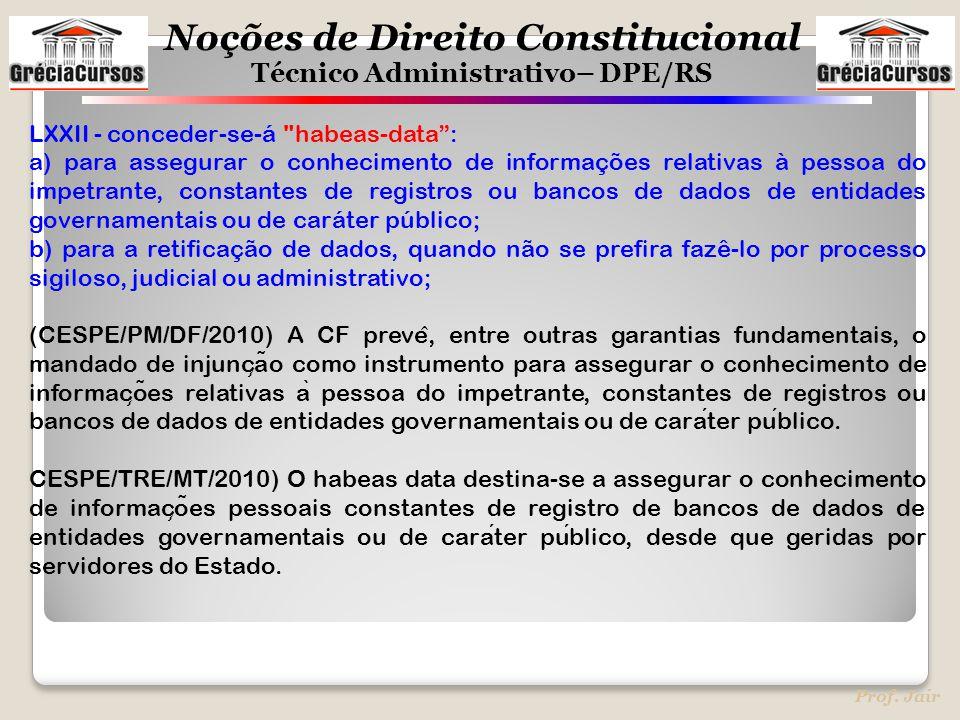 Noções de Direito Constitucional Técnico Administrativo– DPE/RS Prof. Jair LXXII - conceder-se-á