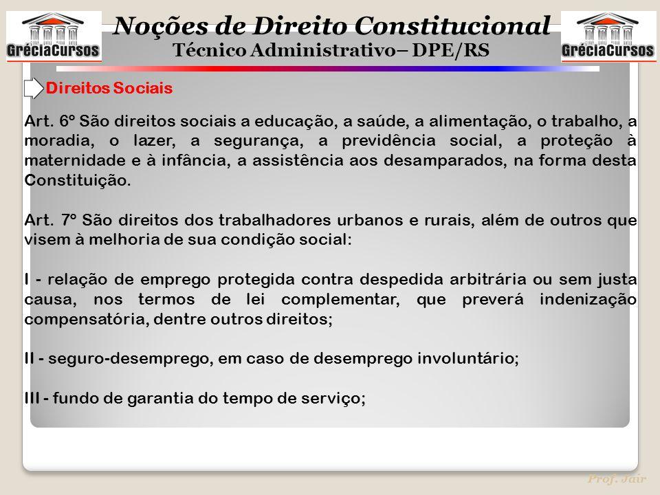 Noções de Direito Constitucional Técnico Administrativo– DPE/RS Prof. Jair Art. 6º São direitos sociais a educação, a saúde, a alimentação, o trabalho