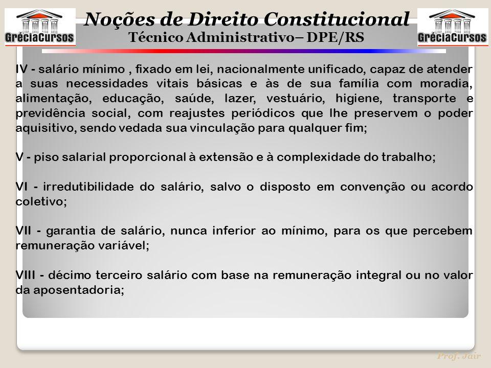 Noções de Direito Constitucional Técnico Administrativo– DPE/RS Prof. Jair IV - salário mínimo, fixado em lei, nacionalmente unificado, capaz de atend