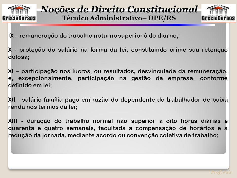 Noções de Direito Constitucional Técnico Administrativo– DPE/RS Prof. Jair IX – remuneração do trabalho noturno superior à do diurno; X - proteção do