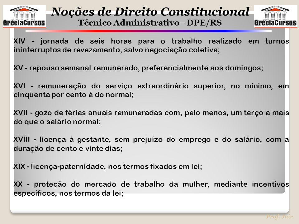 Noções de Direito Constitucional Técnico Administrativo– DPE/RS Prof. Jair XIV - jornada de seis horas para o trabalho realizado em turnos ininterrupt