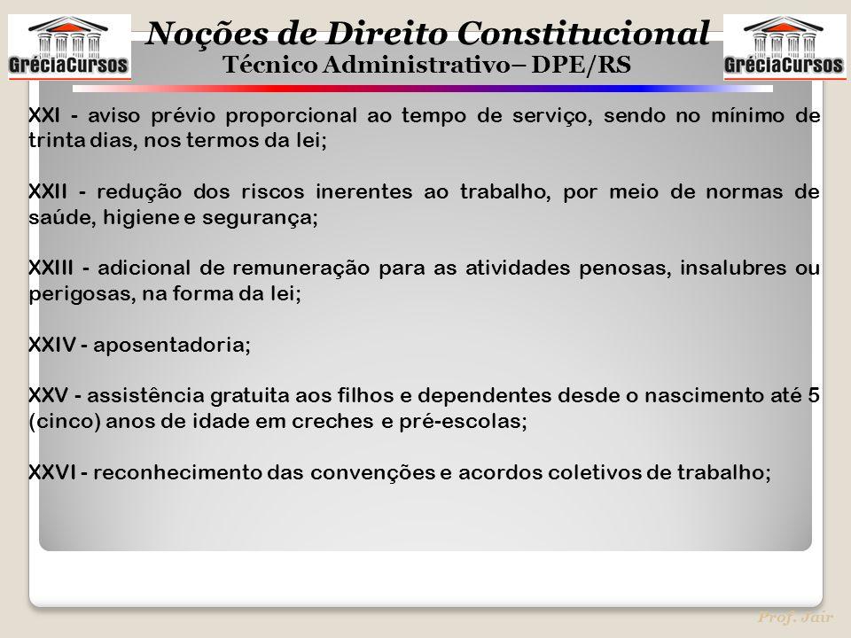 Noções de Direito Constitucional Técnico Administrativo– DPE/RS Prof. Jair XXI - aviso prévio proporcional ao tempo de serviço, sendo no mínimo de tri
