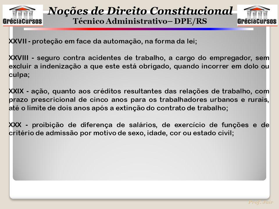 Noções de Direito Constitucional Técnico Administrativo– DPE/RS Prof. Jair XXVII - proteção em face da automação, na forma da lei; XXVIII - seguro con