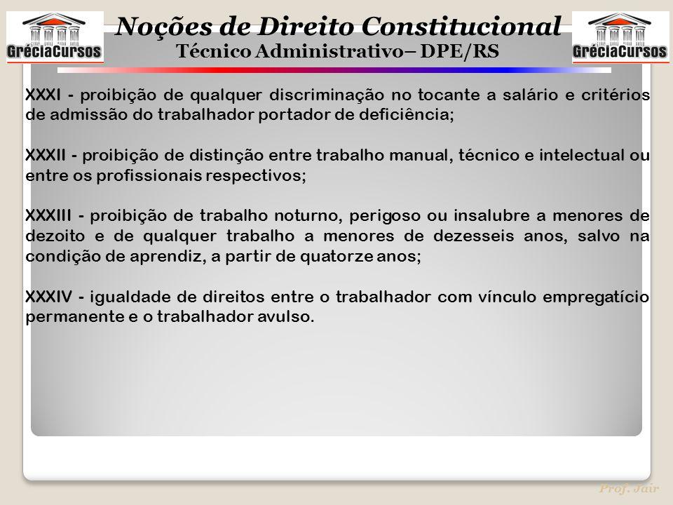 Noções de Direito Constitucional Técnico Administrativo– DPE/RS Prof. Jair XXXI - proibição de qualquer discriminação no tocante a salário e critérios