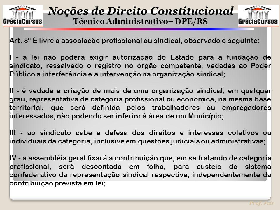 Noções de Direito Constitucional Técnico Administrativo– DPE/RS Prof. Jair Art. 8º É livre a associação profissional ou sindical, observado o seguinte