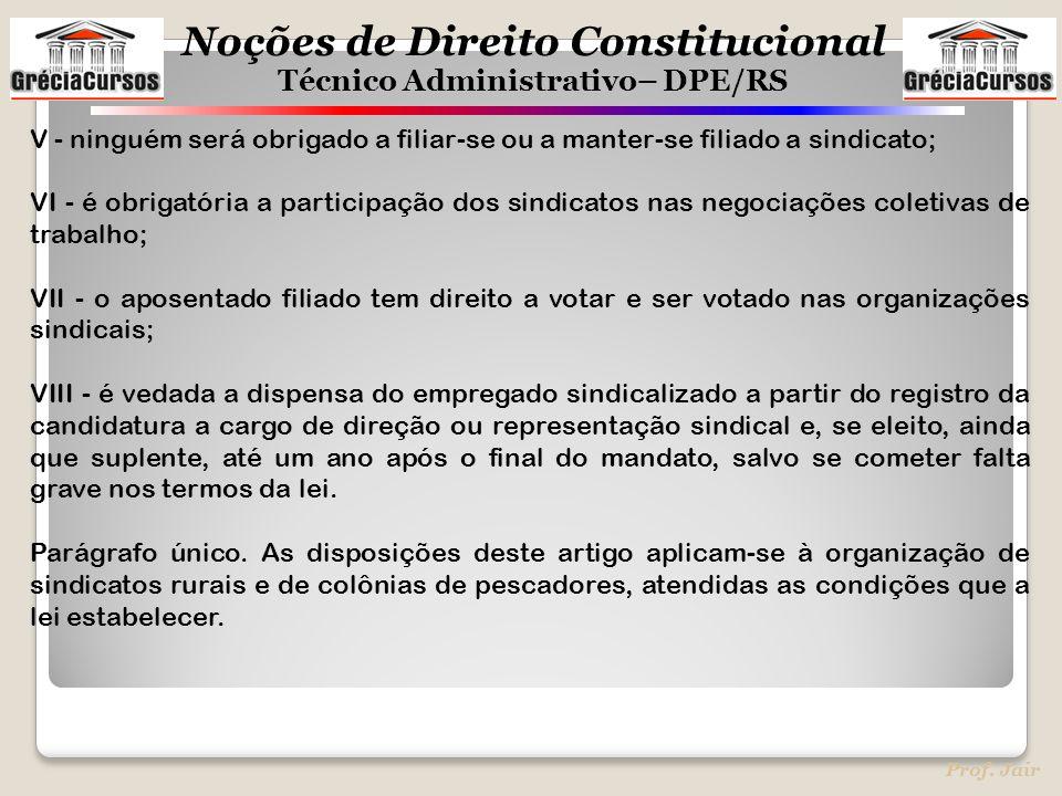 Noções de Direito Constitucional Técnico Administrativo– DPE/RS Prof. Jair V - ninguém será obrigado a filiar-se ou a manter-se filiado a sindicato; V