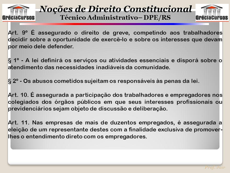Noções de Direito Constitucional Técnico Administrativo– DPE/RS Prof. Jair Art. 9º É assegurado o direito de greve, competindo aos trabalhadores decid