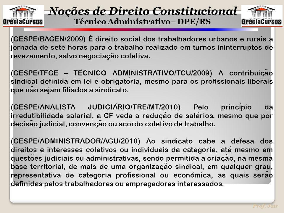 Noções de Direito Constitucional Técnico Administrativo– DPE/RS Prof. Jair (CESPE/BACEN/2009) É direito social dos trabalhadores urbanos e rurais a jo