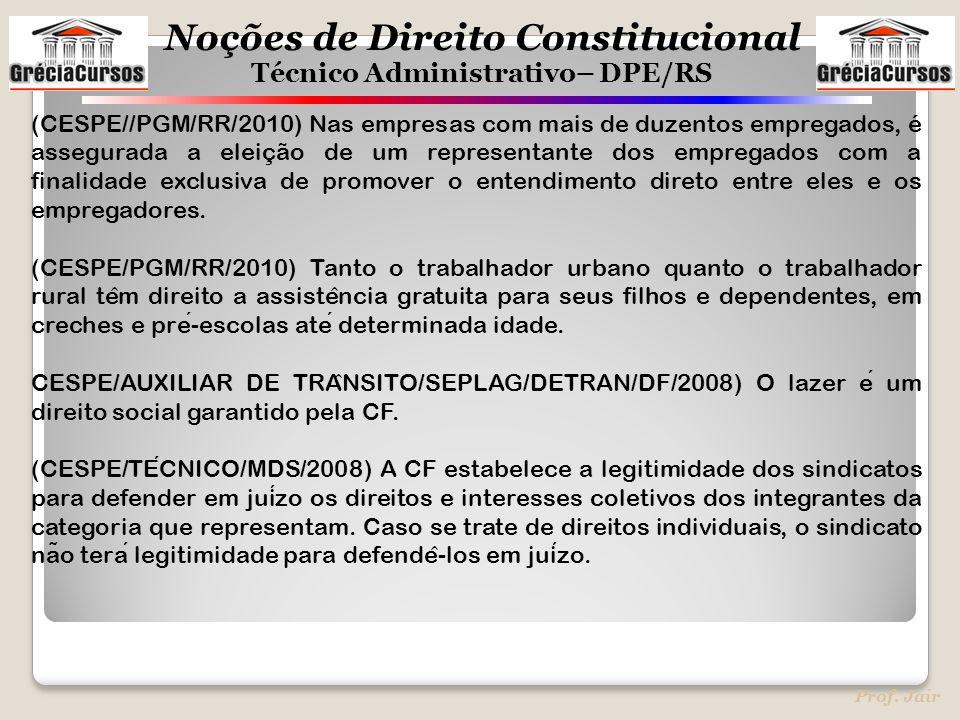 Noções de Direito Constitucional Técnico Administrativo– DPE/RS Prof. Jair (CESPE//PGM/RR/2010) Nas empresas com mais de duzentos empregados, é assegu