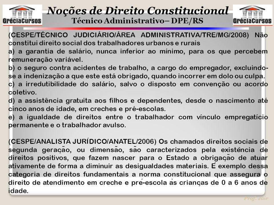 Noções de Direito Constitucional Técnico Administrativo– DPE/RS Prof. Jair (CESPE/TÉCNICO JUDICIÁRIO/ÁREA ADMINISTRATIVA/TRE/MG/2008) Não constitui di