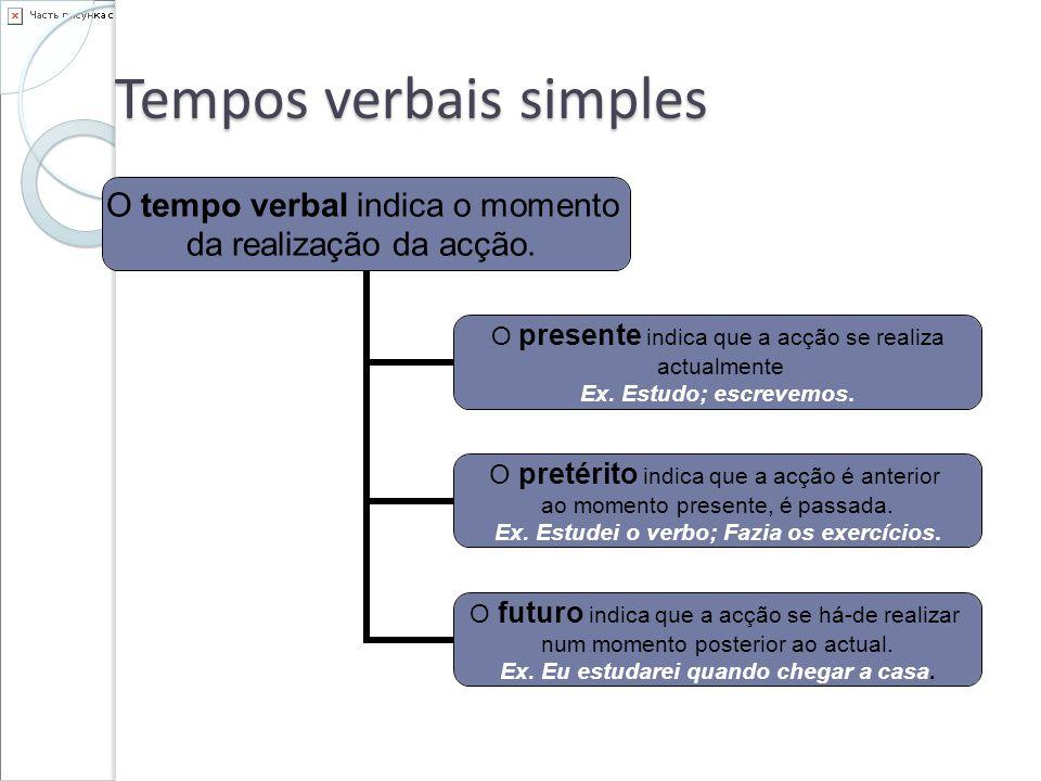 Tempos verbais O pretérito pode ser: Imperfeito, quando indica uma acção que no passado se apresenta como inacabada, imperfeita.