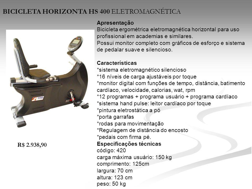 Apresentação Bicicleta ergométrica eletromagnética horizontal para uso profissional em academias e similares. Possui monitor completo com gráficos de