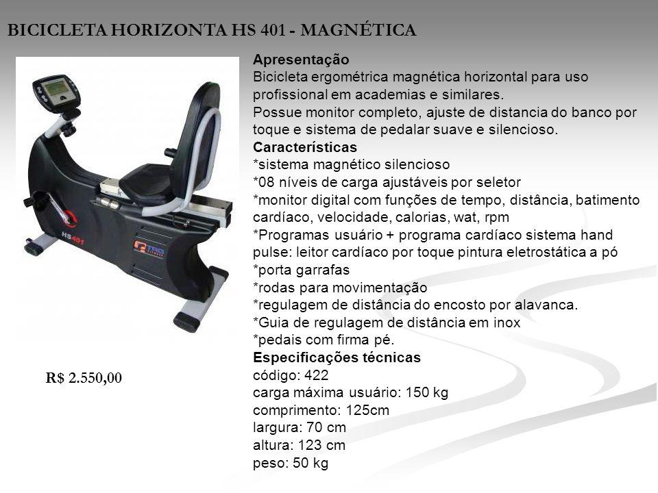 Apresentação Bicicleta ergométrica magnética horizontal para uso profissional em academias e similares. Possue monitor completo, ajuste de distancia d