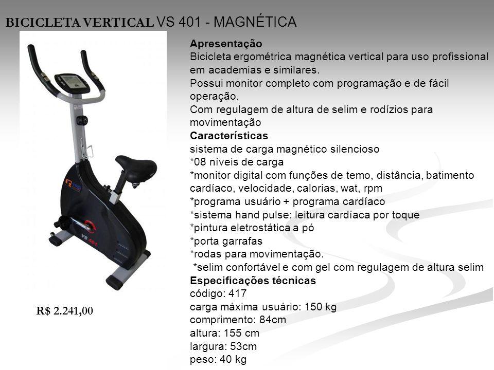 Apresentação Bicicleta ergométrica magnética vertical para uso profissional em academias e similares. Possui monitor completo com programação e de fác