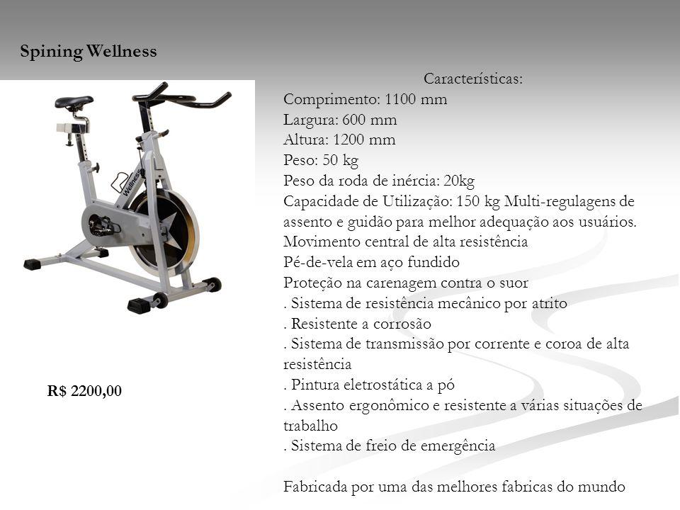Características: Comprimento: 1100 mm Largura: 600 mm Altura: 1200 mm Peso: 50 kg Peso da roda de inércia: 20kg Capacidade de Utilização: 150 kg Multi
