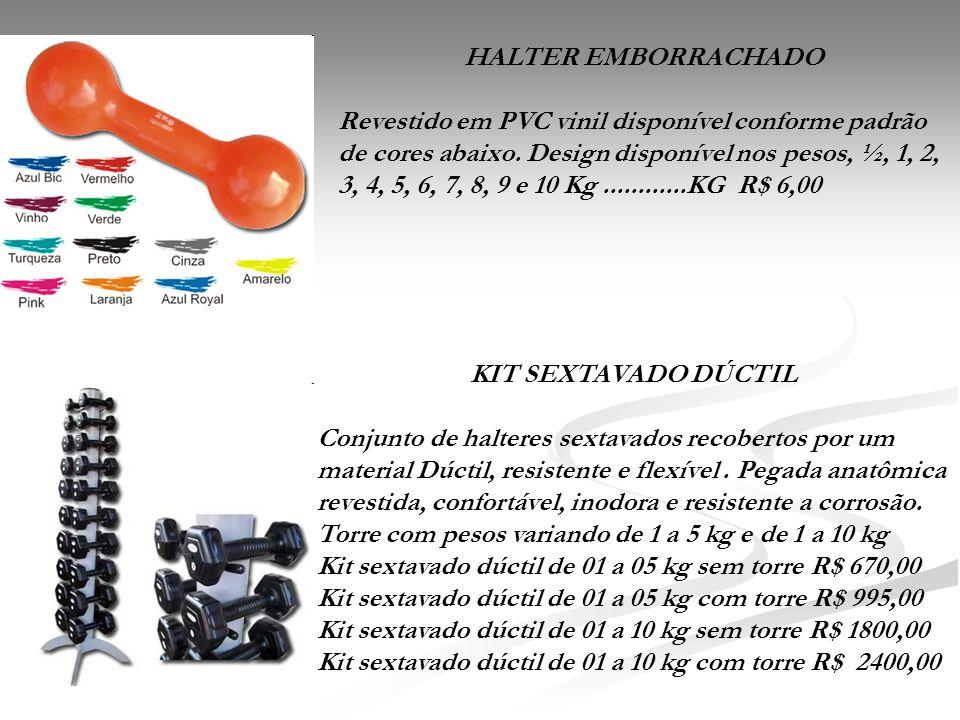 HALTER EMBORRACHADO Revestido em PVC vinil disponível conforme padrão de cores abaixo. Design disponível nos pesos, ½, 1, 2, 3, 4, 5, 6, 7, 8, 9 e 10