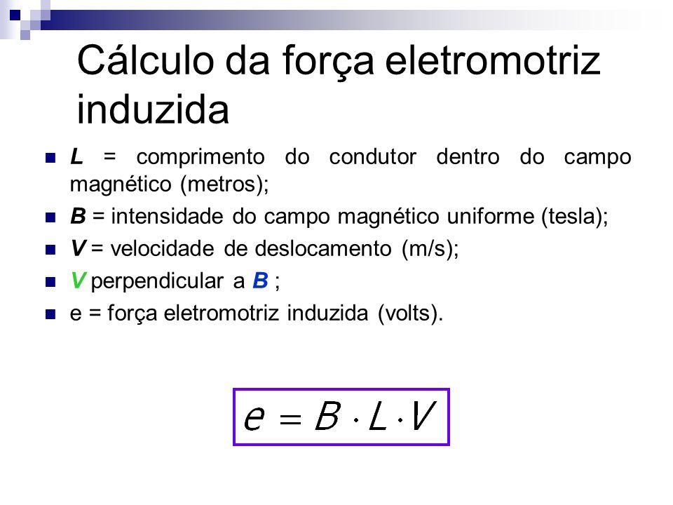 Cálculo da força eletromotriz induzida  L = comprimento do condutor dentro do campo magnético (metros);  B = intensidade do campo magnético uniforme (tesla);  V = velocidade de deslocamento (m/s);  V perpendicular a B ;  e = força eletromotriz induzida (volts).