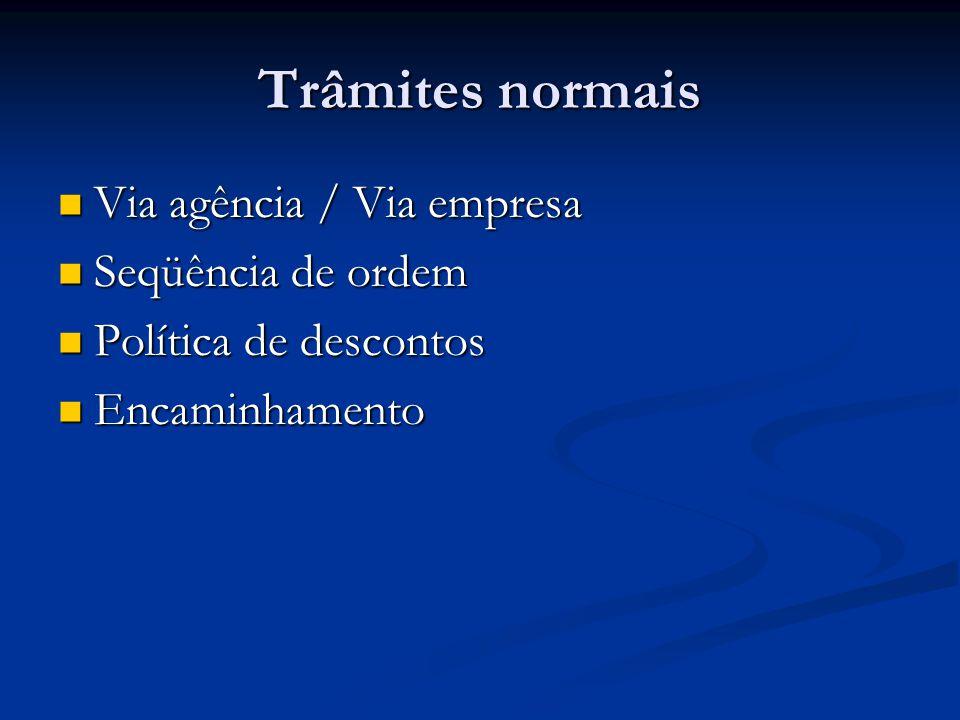 Trâmites normais  Via agência / Via empresa  Seqüência de ordem  Política de descontos  Encaminhamento