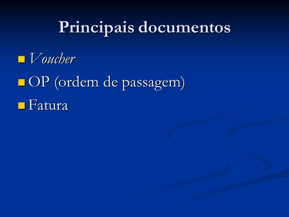 Principais documentos  Voucher  OP (ordem de passagem)  Fatura