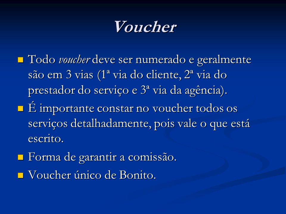 Voucher  Todo voucher deve ser numerado e geralmente são em 3 vias (1ª via do cliente, 2ª via do prestador do serviço e 3ª via da agência).  É impor