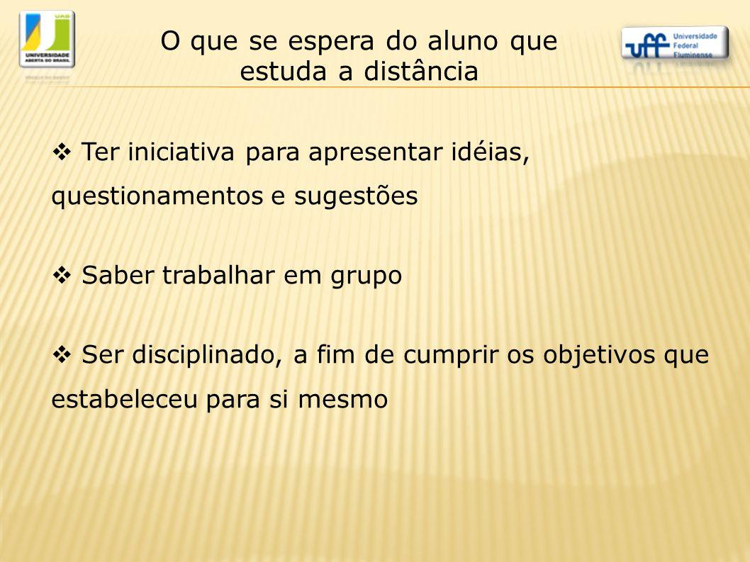  Ter iniciativa para apresentar idéias, questionamentos e sugestões  Saber trabalhar em grupo  Ser disciplinado, a fim de cumprir os objetivos que