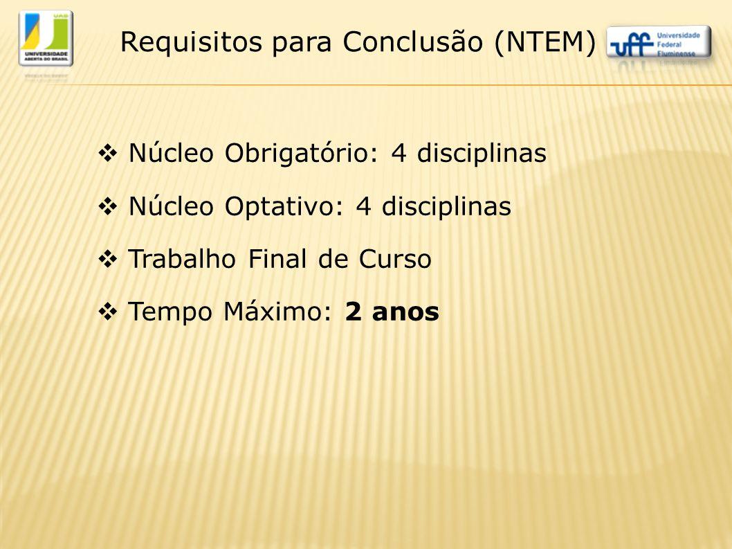  Núcleo Obrigatório: 4 disciplinas  Núcleo Optativo: 4 disciplinas  Trabalho Final de Curso  Tempo Máximo: 2 anos Requisitos para Conclusão (NTEM)