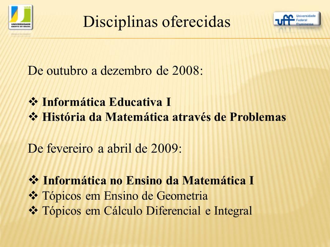 Disciplinas oferecidas De outubro a dezembro de 2008:  Informática Educativa I  História da Matemática através de Problemas De fevereiro a abril de