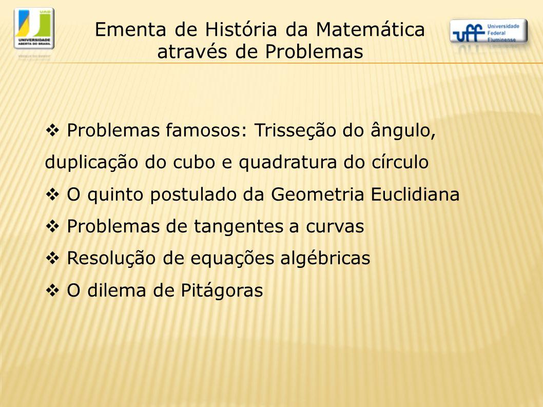  Problemas famosos: Trisseção do ângulo, duplicação do cubo e quadratura do círculo  O quinto postulado da Geometria Euclidiana  Problemas de tange