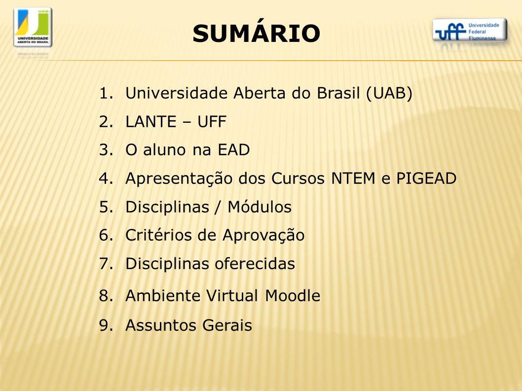 1.Universidade Aberta do Brasil (UAB) 2.LANTE – UFF 3.O aluno na EAD 4.Apresentação dos Cursos NTEM e PIGEAD 5.Disciplinas / Módulos 6.Critérios de Ap