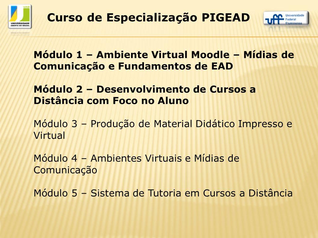 Módulo 1 – Ambiente Virtual Moodle – Mídias de Comunicação e Fundamentos de EAD Módulo 2 – Desenvolvimento de Cursos a Distância com Foco no Aluno Mód