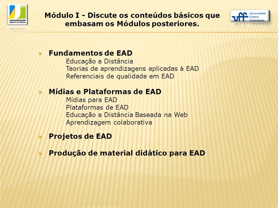  Fundamentos de EAD Educação a Distância Teorias de aprendizagens aplicadas à EAD Referenciais de qualidade em EAD  Mídias e Plataformas de EAD Mídi