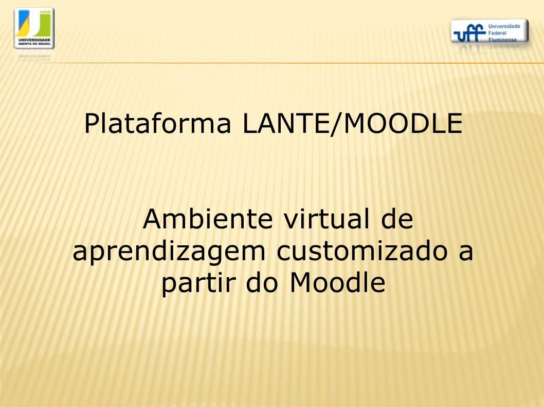 Plataforma LANTE/MOODLE Ambiente virtual de aprendizagem customizado a partir do Moodle