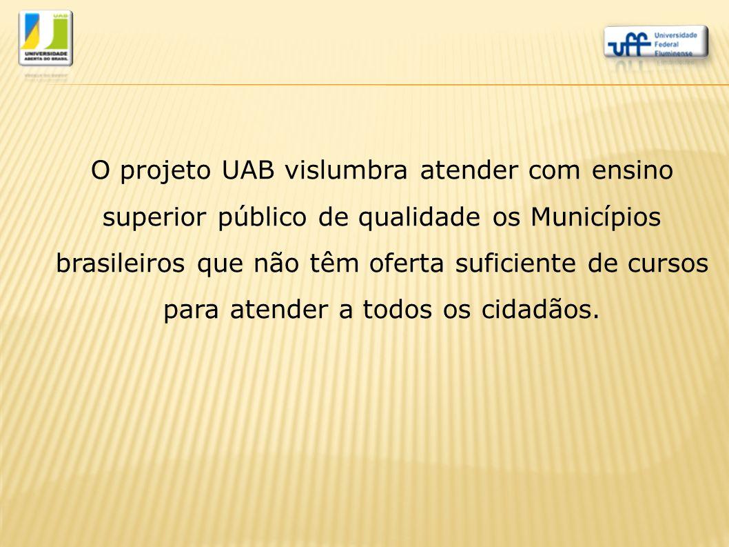 O projeto UAB vislumbra atender com ensino superior público de qualidade os Municípios brasileiros que não têm oferta suficiente de cursos para atende