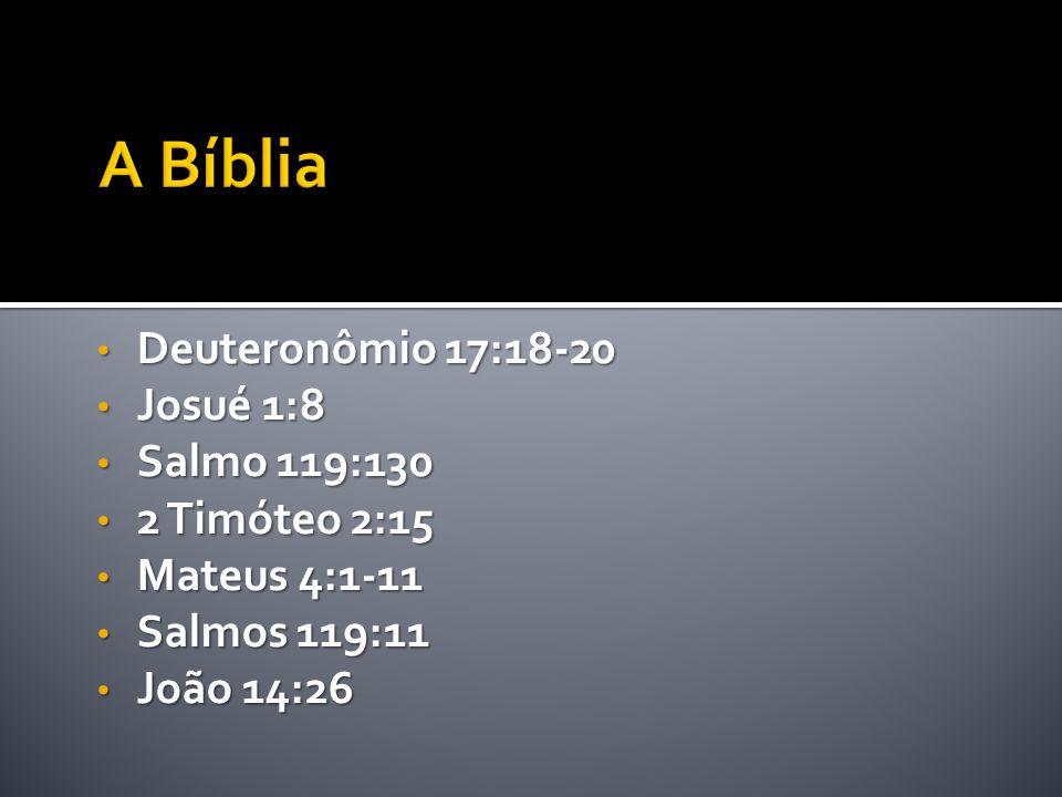 • Deuteronômio 17:18-20 • Josué 1:8 • Salmo 119:130 • 2 Timóteo 2:15 • Mateus 4:1-11 • Salmos 119:11 • João 14:26