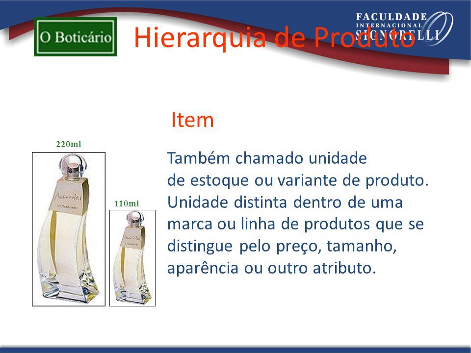 Hierarquia de Produto Também chamado unidade de estoque ou variante de produto. Unidade distinta dentro de uma marca ou linha de produtos que se disti