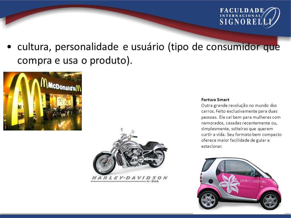 •cultura, personalidade e usuário (tipo de consumidor que compra e usa o produto). Fortwo Smart Outra grande revolução no mundo dos carros. Feito excl