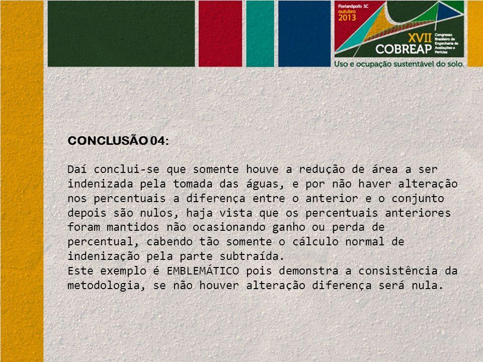 CONCLUSÃO 04: Daí conclui-se que somente houve a redução de área a ser indenizada pela tomada das águas, e por não haver alteração nos percentuais a d