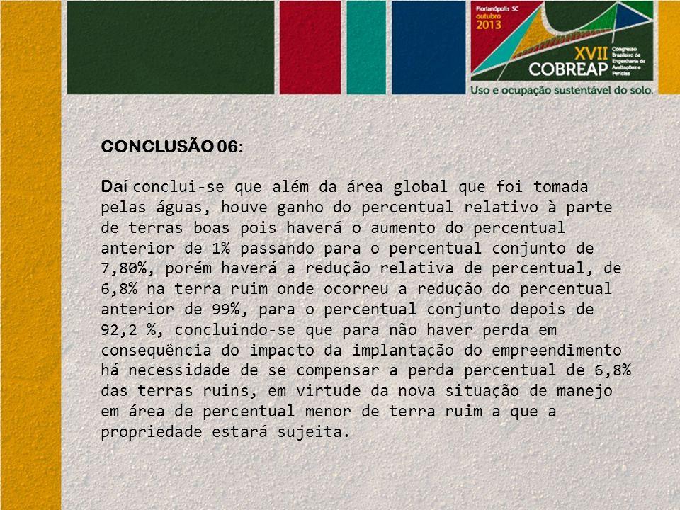 CONCLUSÃO 06: Daí conclui-se que além da área global que foi tomada pelas águas, houve ganho do percentual relativo à parte de terras boas pois haverá