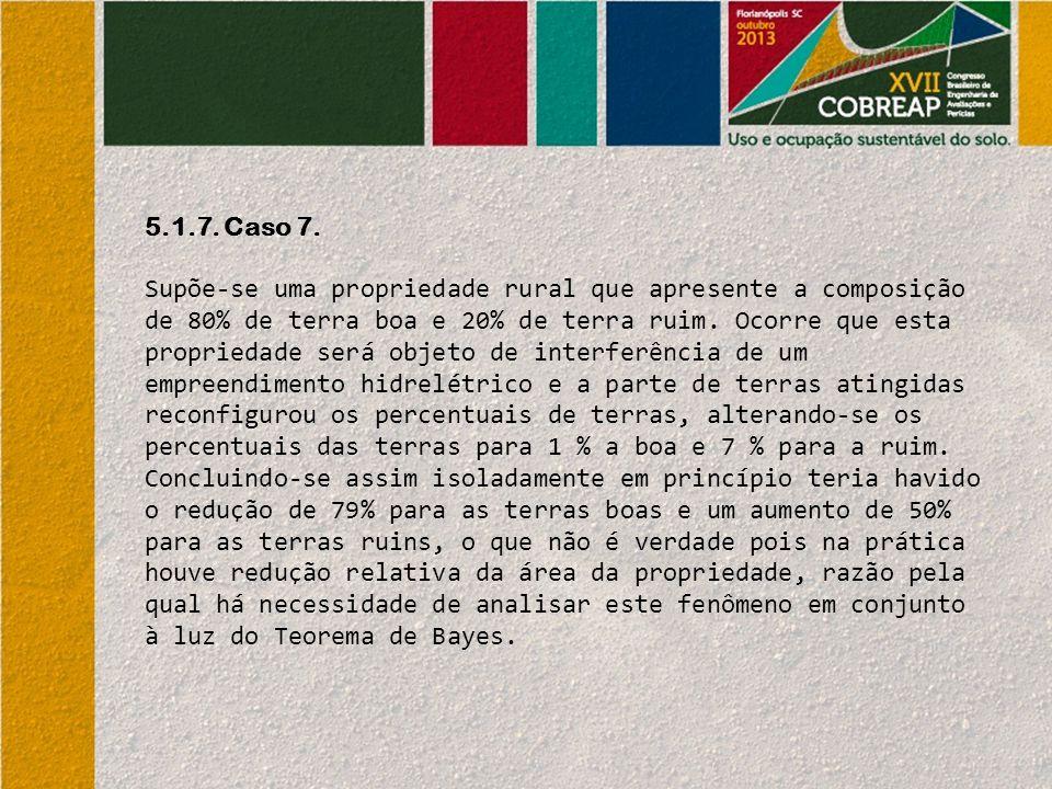 5.1.7. Caso 7. Supõe-se uma propriedade rural que apresente a composição de 80% de terra boa e 20% de terra ruim. Ocorre que esta propriedade será obj