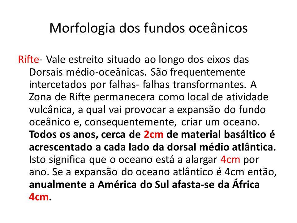 Morfologia dos fundos oceânicos Rifte- Vale estreito situado ao longo dos eixos das Dorsais médio-oceânicas. São frequentemente intercetados por falha