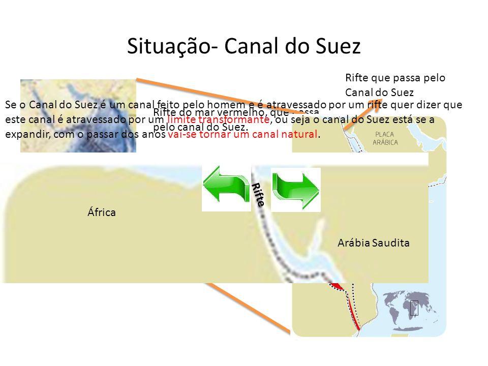 Situação- Canal do Suez Rifte do mar vermelho, que passa pelo canal do Suez. Rifte que passa pelo Canal do Suez Se o Canal do Suez é um canal feito pe