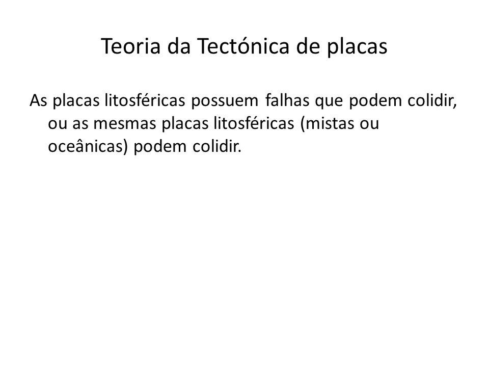 Teoria da Tectónica de placas As placas litosféricas possuem falhas que podem colidir, ou as mesmas placas litosféricas (mistas ou oceânicas) podem co