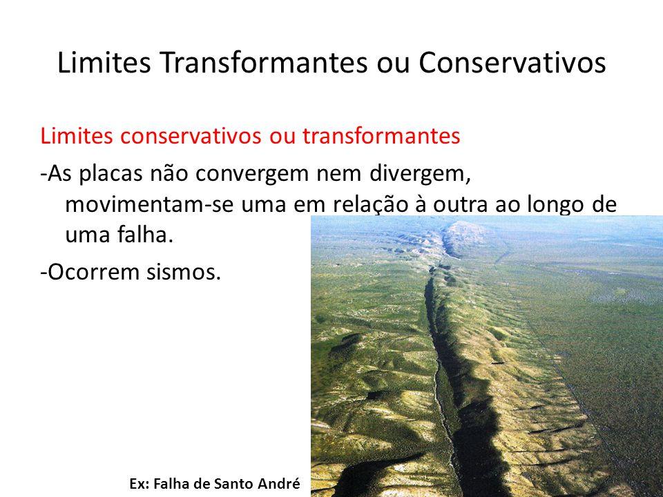 Limites conservativos ou transformantes -As placas não convergem nem divergem, movimentam-se uma em relação à outra ao longo de uma falha. -Ocorrem si
