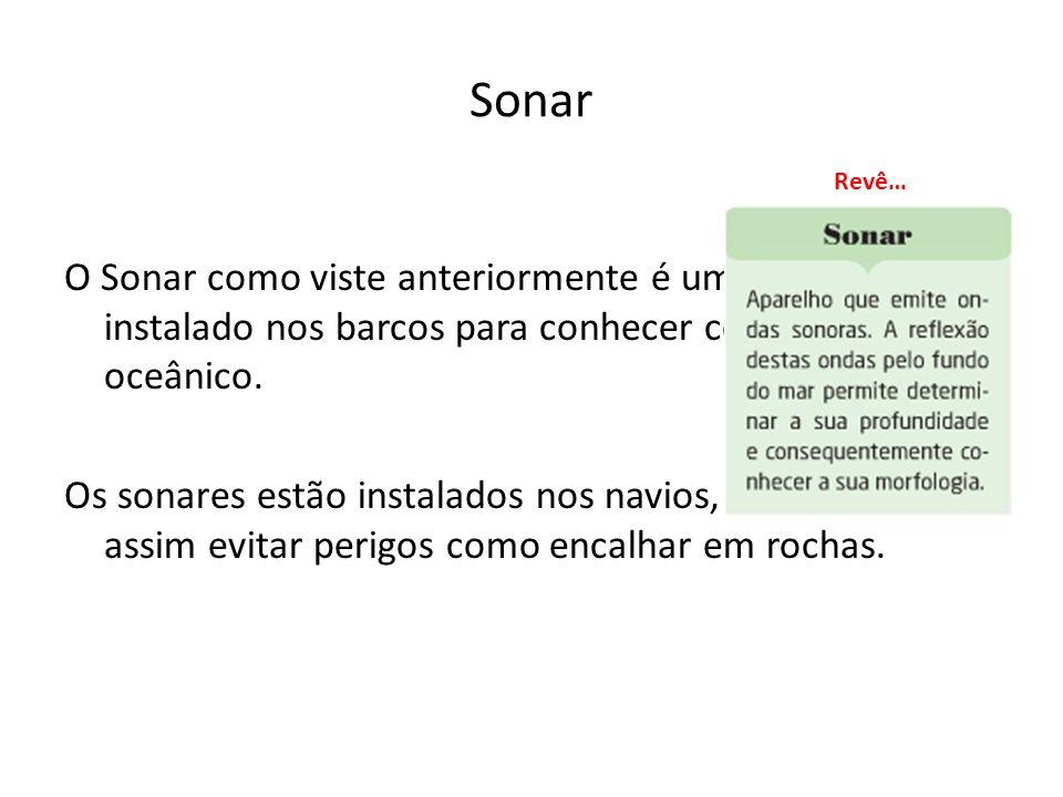 Sonar O Sonar como viste anteriormente é um aparelho instalado nos barcos para conhecer como é o fundo oceânico. Os sonares estão instalados nos navio